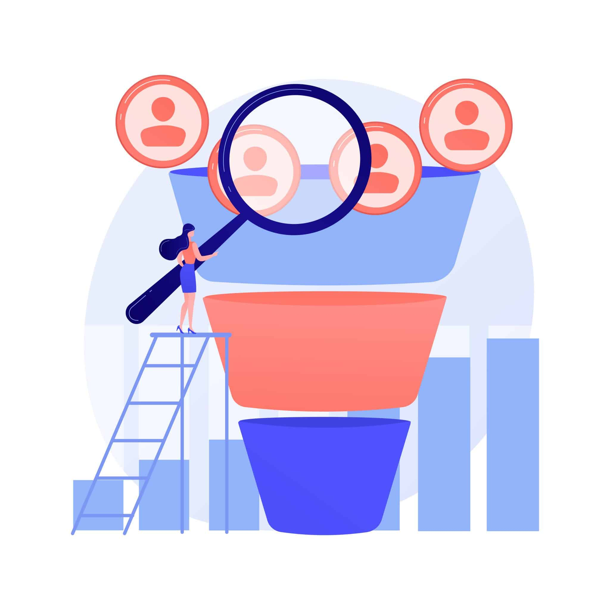 Marketing funnel abstract concept vector illustration. Internet marketing technique, sales funnel formula, product cycle, advertising system control, awareness conversion abstract metaphor.